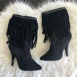 Shoes High Heel Fringe Boots Black Fringe Heeled Boots Poshmark